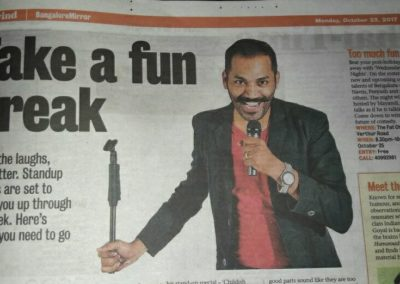 Mayandi Standup Comedian Bangalore | Featured in Bangalore Mirror Newspaper